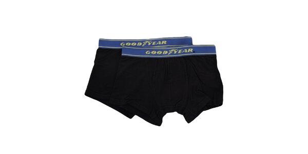 Pánska sada - dvoje čierne boxerky s modrou gumou Goodyear