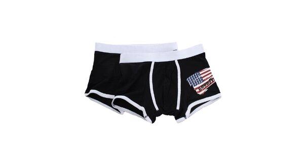Pánska sada - dvoje čiernobiele boxerky s americkou vlajkou Goodyear