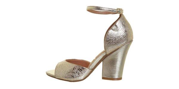 Dámske zlaté sandálky na opätku Vizzano