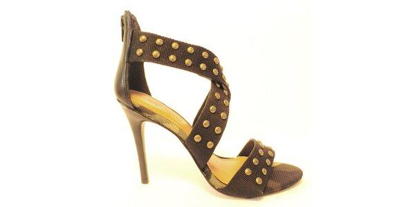 Dámske čierne sandálky na opätku s cvokmi Via Uno