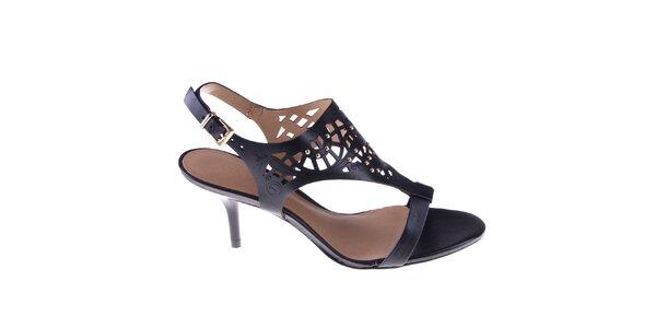 Dámske čierne sandálky s perforáciou Via Uno
