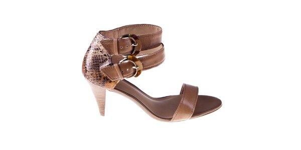 Dámske hnedé sandálky s dvomi prackami Via Uno