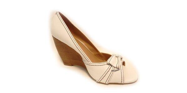 Dámske biele kožené prešívané topánky Via Uno