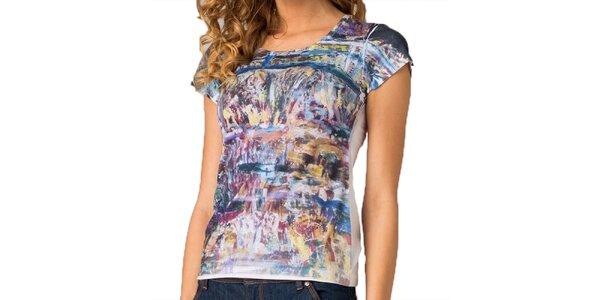 Dámske tričko s farebnou abstraktnou potlačou Seven LA