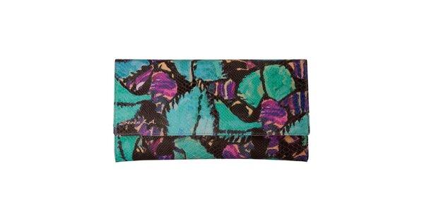 Dámska zeleno-fialovo vzorovaná listová kabelka Seven LA