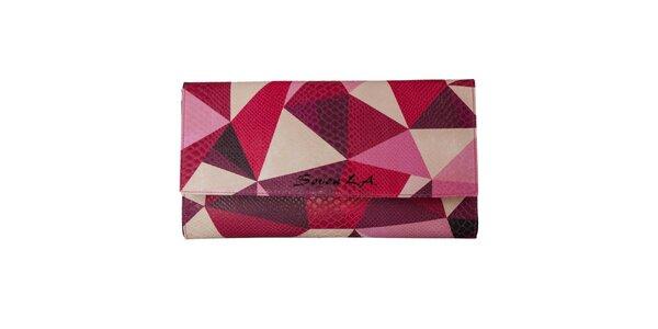 Dámska listová kabelka s ružovým geometrickým motívom Seven LA