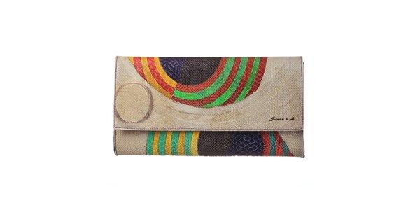 Dámska béžová listová kabelka s farebným motívom Seven LA