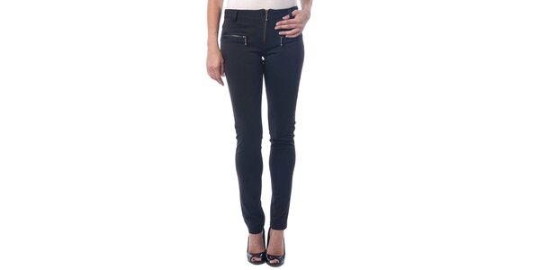 Dámske čierne nohavice so zipsami Seven LA