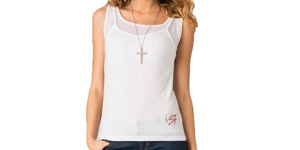 Dámsky biely top s transparentnými ramenami Seven LA