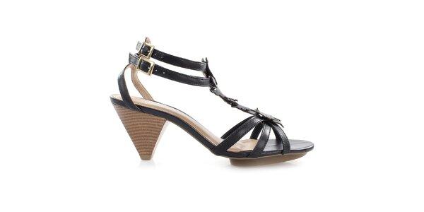 Dámske čierne sandálky s motýlikmi Via Uno