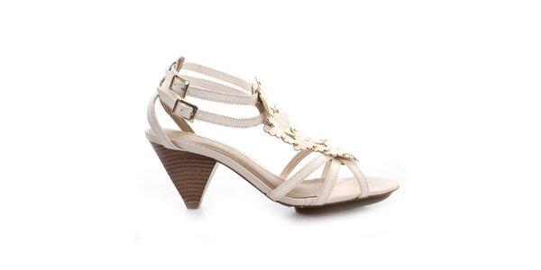 Dámske krémovo biele sandálky s motýlikmi Via Uno