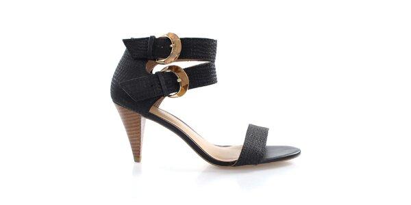 Dámske čierne sandálky s dvomi prackami Via Uno