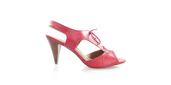 Dámske kožené šnurovacie topánky vo farbe cherry Via Uno