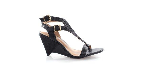 Dámske čierne kožené sandále Via Uno