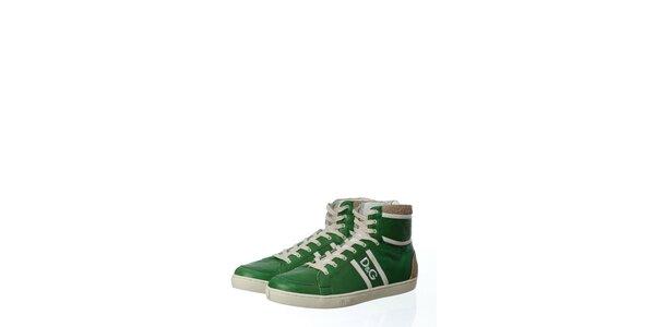 Pánske zelené kožené tenisky Dolce & Gabbana s plsťou
