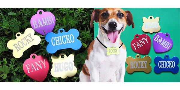 Gravírované štítky z eloxovaného hliníka pre psov