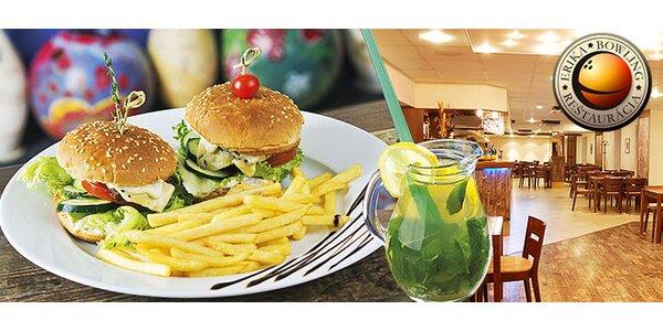 2x hamburger s hranolkami + pivo alebo limča