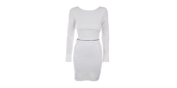 Dámske krémovo biele šaty s ozdobným zipsom Melli London