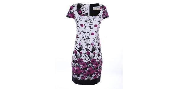 Dámske biele šaty s fialovou potlačou Melli London