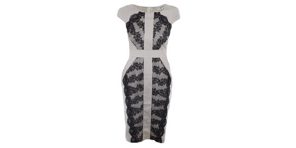 Dámske svetlo béžové šaty s čiernou čipkou Melli London