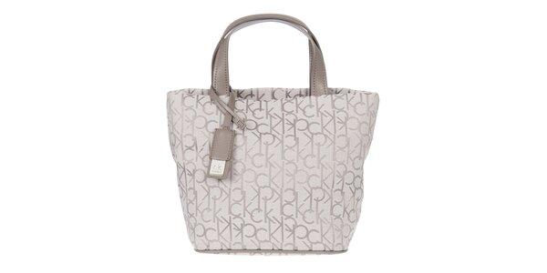 Dámska biela vzorovaná kabelka s koženými pútkami Calvin Klein
