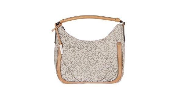 Dámska smotanová kabelka s potlačou Calvin Klein Jeans