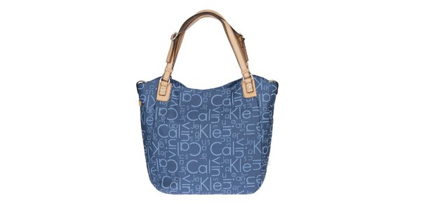 Dámska potlačená kabelka v modrej farbe Calvin Klein Jeans