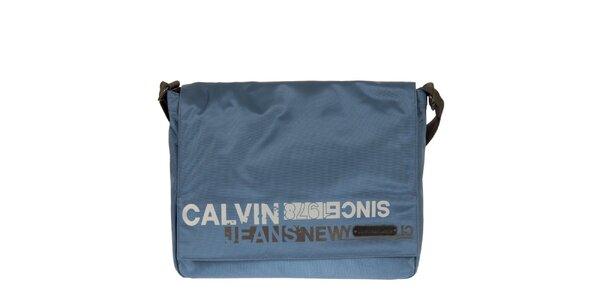 Pánsky modrý messenger s potlačou na klope Calvin Klein Jeans