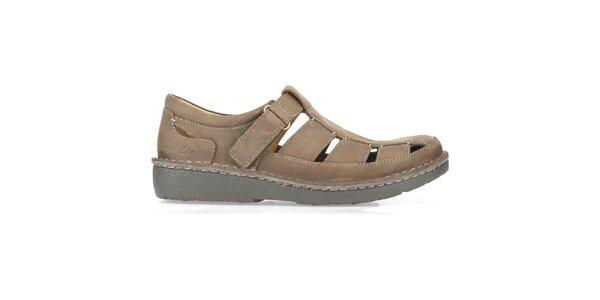 Pánske hnedé otvorené topánky Clarks