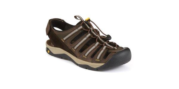 Pánske hnedé kožené sandále s plnou špičkou Clarks