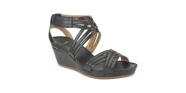 Dámske čierne kožené sandálky Clarks