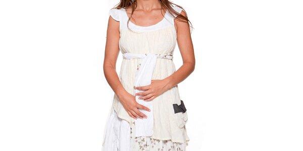 618310a91e7f Dámske krémovo-biele šaty s vrstvenou sukňou Ian Mosh