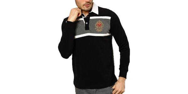 df053bf8822b Pánske čierne polo tričko so šedým chrbtom Northern rebel
