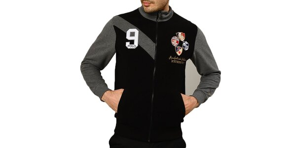 Pánsky čierny sveter s výšivkami a zipsom Northern Rebel