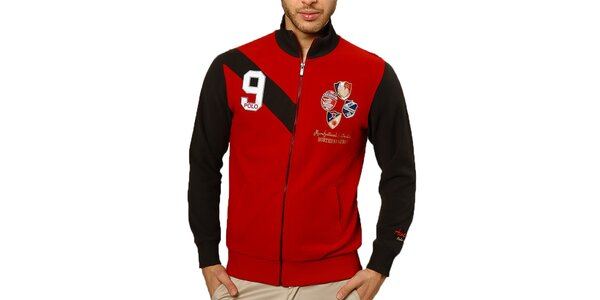 Pánsky červený sveter s výšivkami a zipsom Northern Rebel