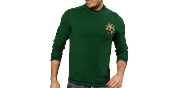 Pánsky zelený sveter s lakťovými nášivkami Northern rebel