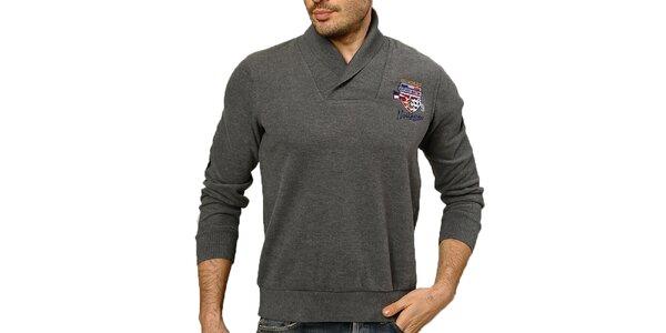 Pánsky šedý sveter s lakťovými nášivkami Northern rebel