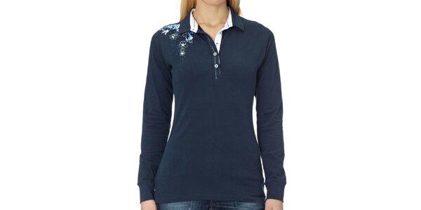 Dámske tmavo modré polo tričko s dlhým rukávom Northern rebel