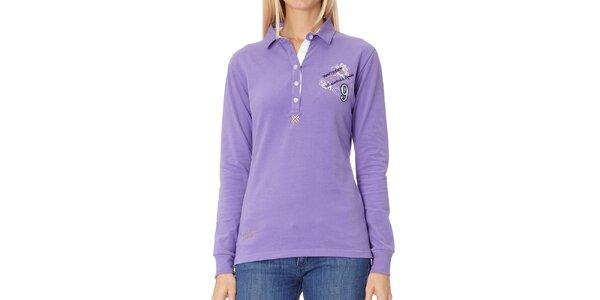 Dámske fialové polo tričko s dlhým rukávom Northern Rebel