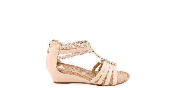 Dámske béžové sandálky na kline Colorful