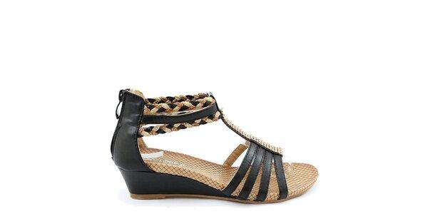 Dámske čierno-béžové sandálky na kline Colorful