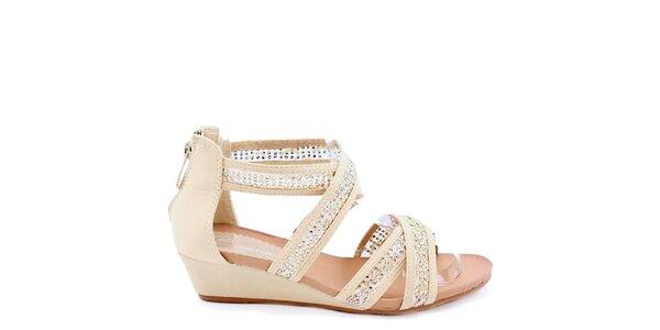 Dámske béžové ozdobené sandálky Colorful