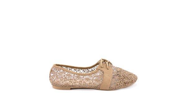 Dámske hnedé čipkové topánočky Colorful
