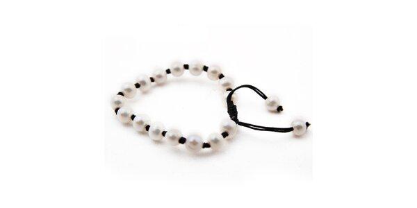 Dámsky viazaný náramok s bielymi perlami Orchira
