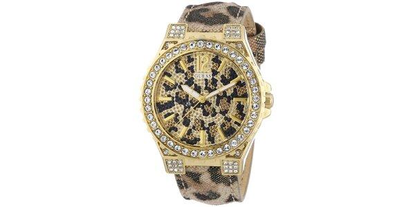 Dámske leopardie hodinky s kamienkami Guess