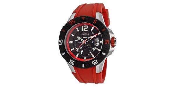 Dámske červeno-čierne oceľové hodinky so silikónovým remienkom Guess