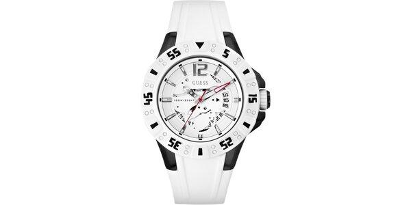 Dámske bielo-čierne oceľové hodinky so silikónovým remienkom Guess