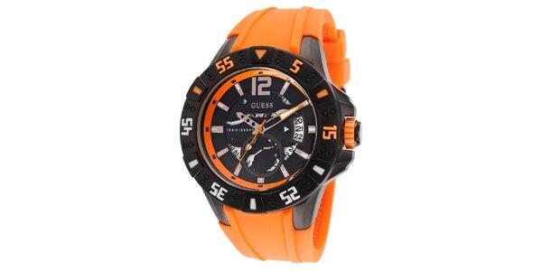 Dámske oranžovo-čierne oceľové hodinky so silikónovým remienkom Guess