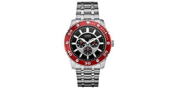 Unisex oceľové hodinky s čiernym ciferníkom a červenou lunetou Guess