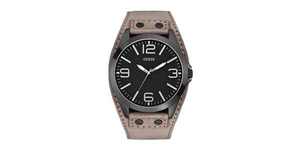 Pánske tmavé oceľové hodinky s koženým remienkom Guess